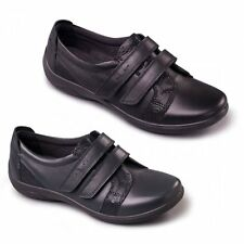 Padders VERSE Womens Ladies Leather EEE/EEEE Extra Super Wide Velcro Flats Shoes