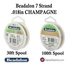"Beadalon 7 Strand CHAMPAGNE .018"" Flex Beading Wire - 30ft or 100ft Spools"