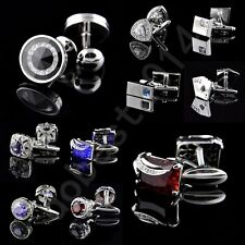 Lot Mens Vintage Stainless Steel Crystal Wedding Party Gift Shirt Cuff links