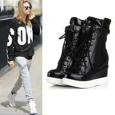 Womens Fashion Sneaker Lace Up Buckle Hidden Wedge ANkle Boot Riding Chic SHoes