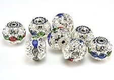 Rhinestone ball bead, mix color, rhinestone, silver plated, 6-10mm, ball bead