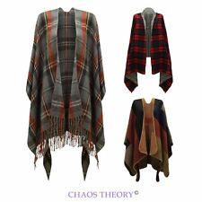 Womens Ladies Checked Tartan Knitted Cape Winter Stylished Poncho One Size