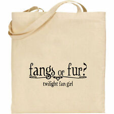 FANGS OR FUR -  TWILIGHT BELLA EDWARD CULLEN JACOB NATURAL COTTON TOTE SHOPPING