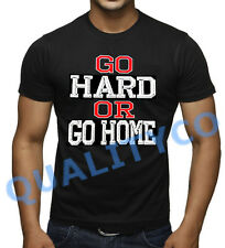 Men's Go Hard Or Go Home Black T Shirt Beast MMA Fitness Workout Muscle Gym Tee