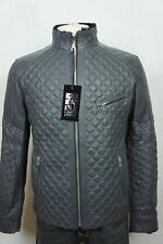 New Quilted Men Gray 100% Lambskin Leather Shearling Leather lined Jacket XS-2XL