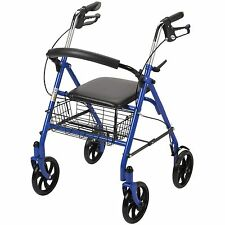 Medical Health Rollator Rolling Walker with Medical Curved Back Soft Seat 300 lb