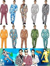 NEW MENS STAND OUT SUIT FUN FANCY DRESS UNION JACK CRAZY SMART PARTY COLOUR STAG