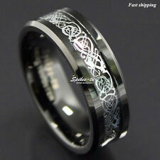 8Mm Black + Sliver Celtic Dragon Tungsten Carbide Ring Men Jewelry Wedding Band