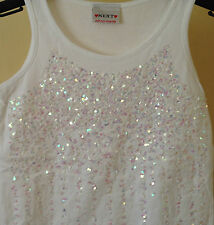 NEXT. GIRLS  VEST TOP. WHITE. SEQUINS . NEW. AGES 4 - 10 YEARS. COTTON.