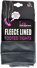 NEW LEG IMPRESSIONS FLEECE LINED FOOTED TIGHTS