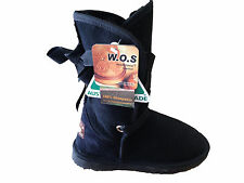 Australian Made Genuine sheepskin Lady UGG Boots Front with Ribbon Black Colour