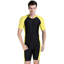 Yellow Men's Short Scuba & Snorkeling Dive Skin Suit Warm Scuba Diving Jump Suit