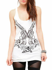 Six Shooters Girls Tank Top Rebel Black Matter Juniors Guns Roses New