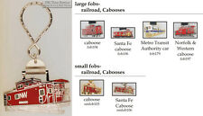Railroad caboose fobs, various designs & keychain options
