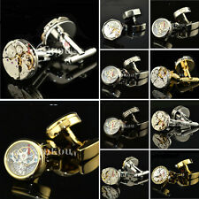 Watch Movement Mens Cufflinks Steampunk Vintage Wedding Groom Mens Cuff links