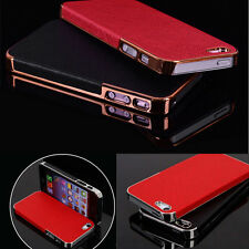 NEW Luxury Leather Chrome Hard Back Case Cover For iPhone 5S 5 iPhone 4S 4