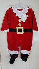 Soft Velour Baby Santa Claus/Father Christmas Suit/Outfit/Sleepsuit 3 Sizes