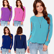 Solid Chiffon Casual Shirt Women Long Sleeve Blouse Crew Neck Fashion Loose Tops