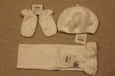 $65 Janie and Jack Hat (Beret)+Gloves+Scarf Ivory Christmas Winter 2T-3T, 24 m