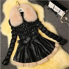 100% Real Genuine Sheep Leather Coat/Jacket Fox collar Rabbit Fur Bottom Fashion