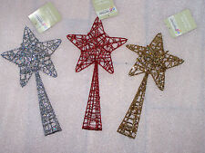 28cm Wire Gold Silver Red Glitter Metal Star Christmas Tree Topper