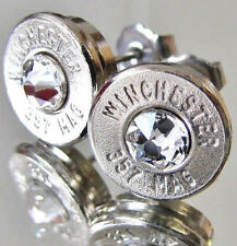 MADE IN USA!! 357 MAGNUM Winchester Bullet Earrings Crystal Silver Nickel MAG