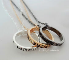 Mxed Silver Tone BFF Best Friends Forever 2/3 Part Rings Eternity Necklaces Set