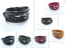 New styles Leather bracelet wholesale Lots 3 Circle Cuff Charm Leather Bangles