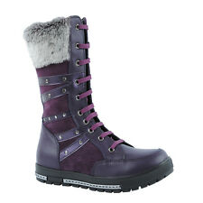 KK Kids Junior Girls Womens Purple Suede Leather Converse Style Boots Shoes New