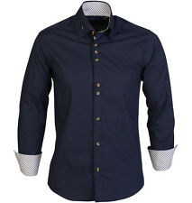 Guide London  Long Sleeve High Collar Stretch  Shirt with Triple Button Navy