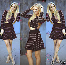 Womens Striped Two Piece Crop Top and Short Skater Skirt Bodycon Party Dress Set