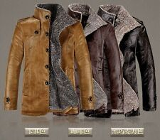 Mens coat collar motorcycles leather jacket trench coat Woolen Fleece Jacket hot