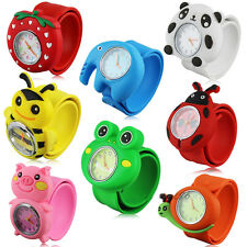 Cute Kids Animals 3D Cartoon Bendable Plastic Strap Slap Quartz Wrist Watch FW1