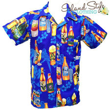 Mens Hawaiian Shirt | Blue Beer Bottles