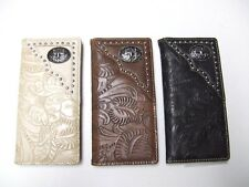 Men Women Western Rodeo Wallet Oval Star Studs Tooled Checkbook Pick Color