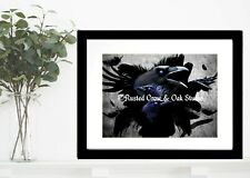 Black Crow Bird Feathers Wings Blue Eye Gothic Art Matted Picture Art Print A670