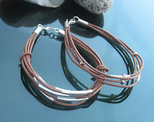 Genuine Leather Cord Bracelet Brown with 925 Sterling Silver Clasp and Beads