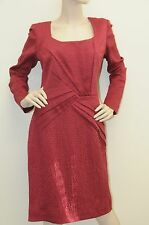 $1690! New Oscar de la Renta Burgundy Wine Hammered  DRESS size 14
