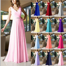 Cheap V-neck Chiffon Bridesmaid Dresses Floor Length A-Line Formal Evening Gowns