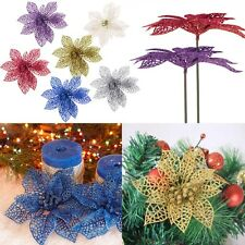 "6"" Glitter Hollow Wedding Party Decor Christmas Flowers Xmas Tree Decorations"