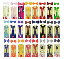CUTE Baby Toddler Kids Children Boys Girls Y-Back Elastic Suspender& Bow Tie Set