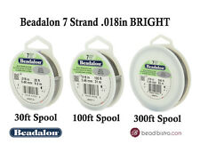 "Beadalon 7 Strand BRIGHT .018"" Bead Stringing Wire - 30ft, 100ft, 300ft"