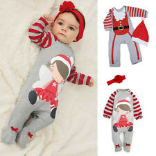 NS Baby Christmas Cloths Outfits Boy Girl Kids Romper Hat Cap Set Gift for 0-2Y