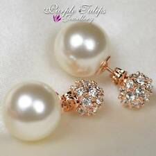 18CT Rose Gold GP Ball&Pearl Two Way Wearing Stud Earrings W/Swarovski Crystals