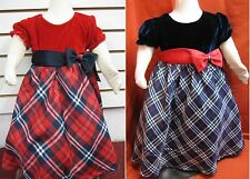 Holiday Christmas Dress for Baby Girl/ Velvet Top Plaid Skirt Bow/Size 12M to 4T