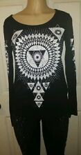 VOCAL APPAREL RINESTONES BLACK /WHITE TRIANGLES LONG SLEEVE TOP  NEW W/OUT TAG!