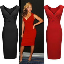 Womens Ladies Sexy V-Neck Cocktail Party Evening Slim Dresses Bodycon Size 8-18