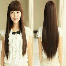 Women Beautiful Neat Bang Long Straight Hair Wigs For Cosplay Costume Party Hot