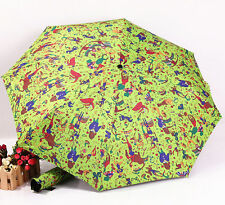 Excelent Folding Circus Troup Pattern Automatic Thicken Windproof Umbrella Gift