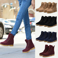 Womens Mens Genuine  Mid Calf Boots Snow Boots Warm Winter Lace Up Shoes